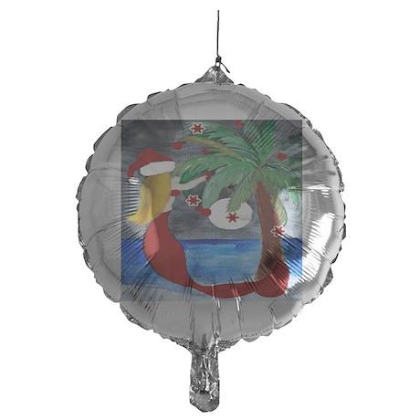 Santa Mermaid Trim a tree Mylar Balloon