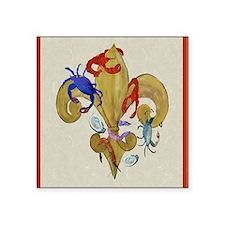 """Cajun Fleur de lis Square Sticker 3"""" x 3"""""""