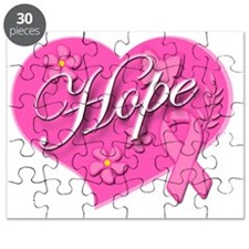 Pink Ribbon Breast Cancer Heart Of HOPE  Puzzle