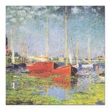 """Red Boats at Argenteuil Square Car Magnet 3"""" x 3"""""""