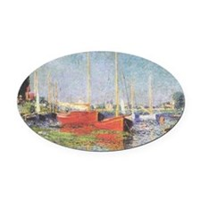Red Boats at Argenteuil Oval Car Magnet