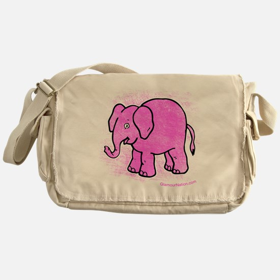 Pink Elephant distroyed Messenger Bag