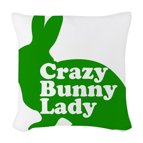 Crazy Bunny Lady Woven Throw Pillow