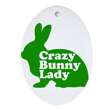 Crazy Bunny Lady Ornament (Oval)