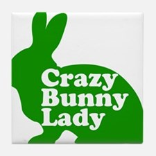 Crazy Bunny Lady Tile Coaster