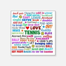 "Tennis Square Sticker 3"" x 3"""