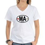 Morocco Euro-style Country Code Women's V-Neck T-S
