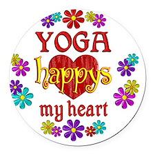 Yoga Happy Round Car Magnet