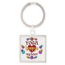 Yoga Happy Square Keychain