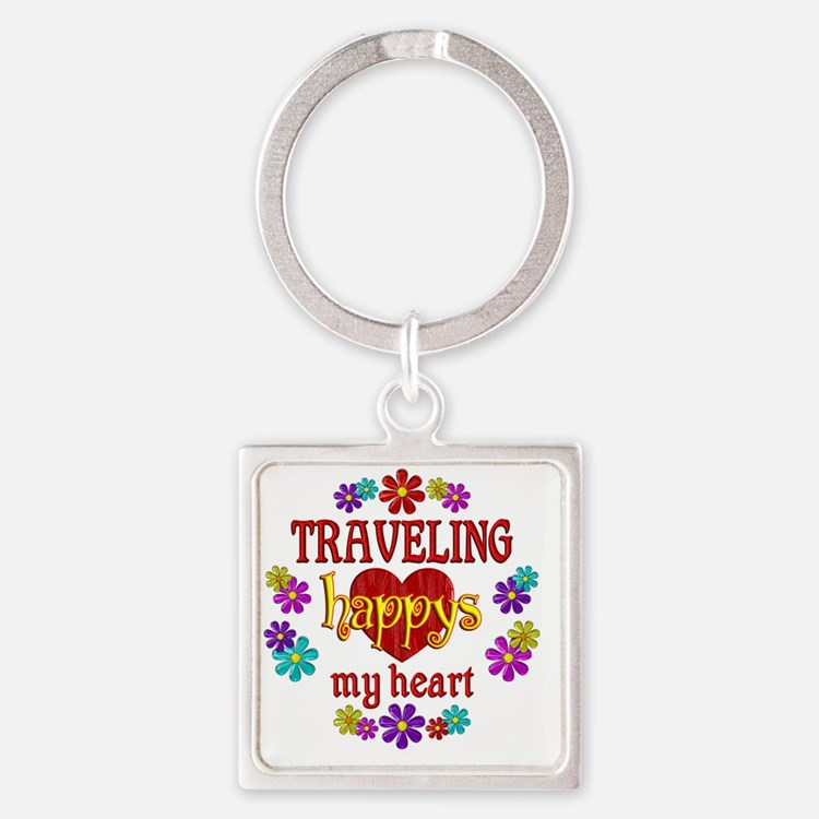 Traveling Happy Square Keychain
