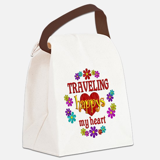 Traveling Happy Canvas Lunch Bag