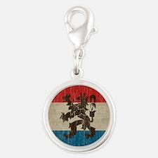 Vintage Netherlands Flag Silver Round Charm