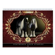 Feathered Gold Gypsy Horses Wall Calendar