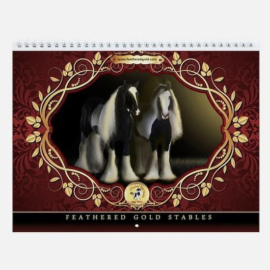 Feathered Gold Gypsy Horses Wall Calendar