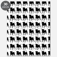Pug Silhouette Flip Flops In Black Puzzle