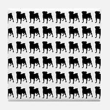 Pug Silhouette Flip Flops In Black Tile Coaster