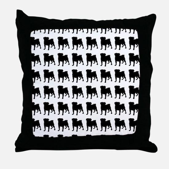 Pug Silhouette Flip Flops In Black Throw Pillow