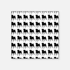 "Pug Silhouette Flip Flops I Square Sticker 3"" x 3"""