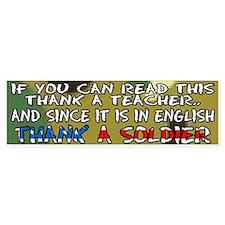 Thank a Teacher & a Soldier Bumper Car Sticker