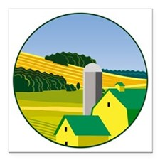 "The Deere Farm Square Car Magnet 3"" x 3"""