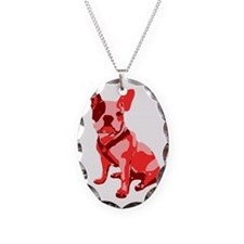 Bulldog Retro Dog Necklace Oval Charm