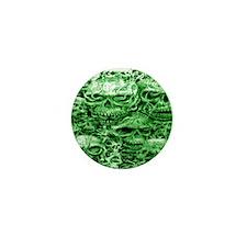 skulls 4 dark  ink  green shade larger Mini Button