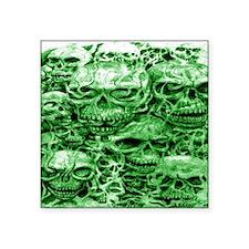 "skulls 4 dark  ink  green s Square Sticker 3"" x 3"""