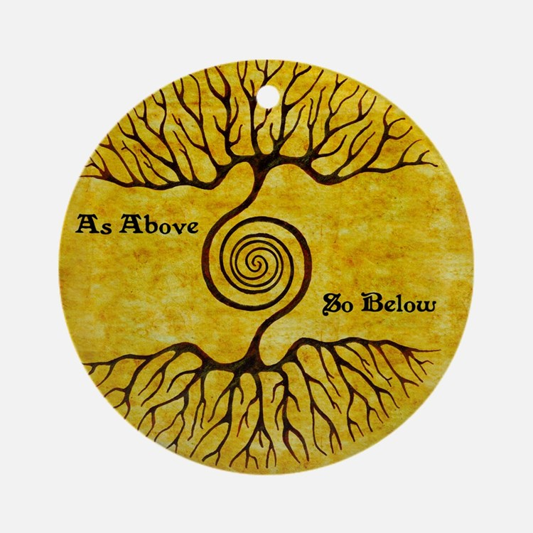 As Above So Below Color Print Round Ornament