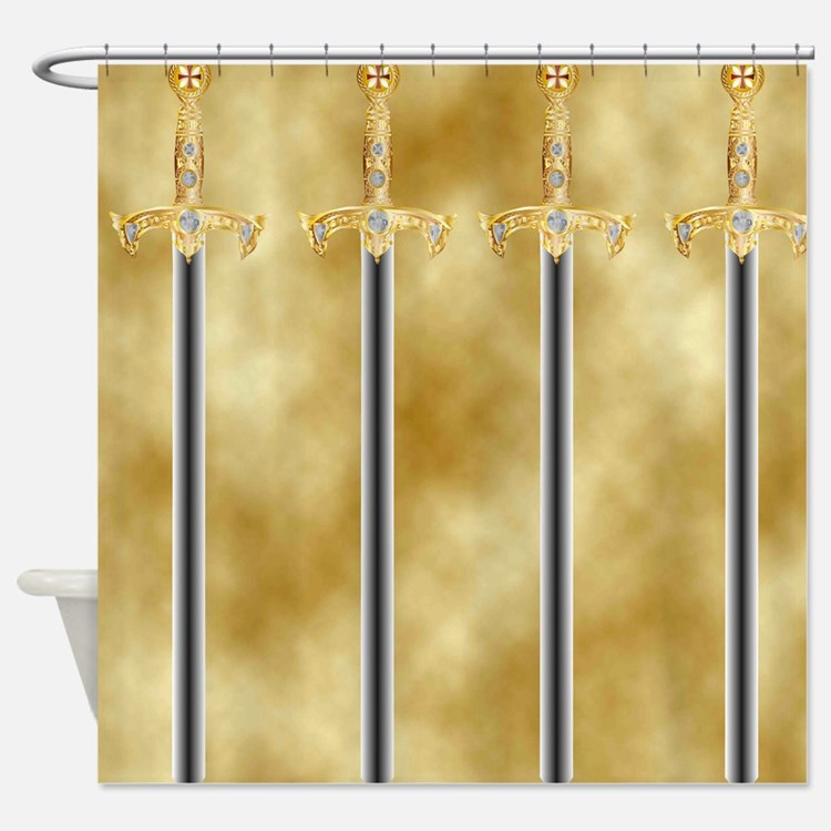 templar sword Shower Curtain