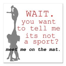 "Meet Me on the Mat Square Car Magnet 3"" x 3"""
