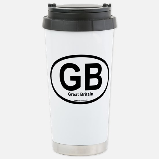 GB - Great Britain oval Stainless Steel Travel Mug