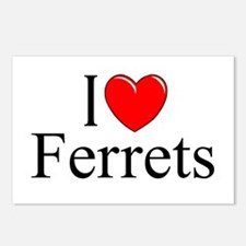 """""""I Love (Heart) Ferrets"""" Postcards (Package of 8)"""