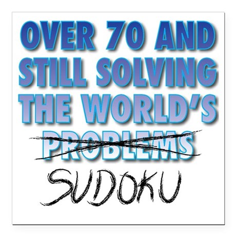"Solving the World's Sudo Square Car Magnet 3"" x 3"""