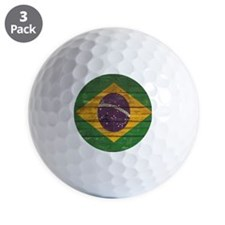 Wooden Wall Brazilian flag Golf Ball