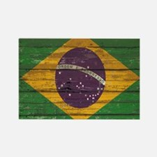 Wooden Wall Brazilian flag Rectangle Magnet