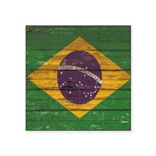 "Wooden Wall Brazilian flag Square Sticker 3"" x 3"""