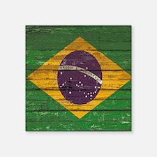 "Wooden Wall Brazilian flag Square Sticker 3"" x 3"""