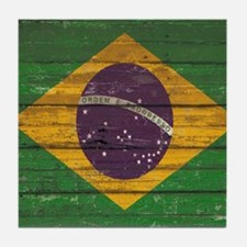 Wooden Wall Brazilian flag Tile Coaster