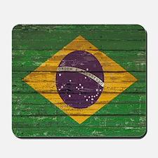 Wooden Wall Brazilian flag Mousepad