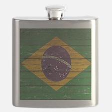 Wooden Wall Brazilian flag Flask