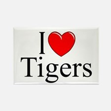 """I Love (Heart) Tigers"" Rectangle Magnet"