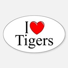 """I Love (Heart) Tigers"" Oval Decal"