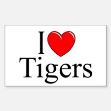 """""""I Love (Heart) Tigers"""" Rectangle Decal"""