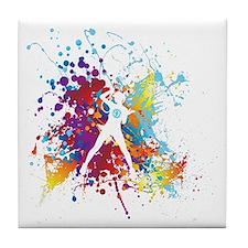 color splash womens tennis tshirt Tile Coaster