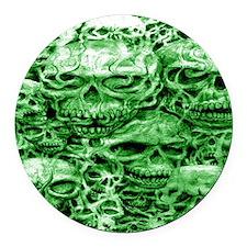 skulls 6 dark  ink  green shade l Round Car Magnet