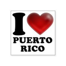 "I Heart Puerto Rico Square Sticker 3"" x 3"""