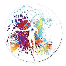 Color Splash Tennis Tshirt Round Car Magnet