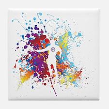 Color Splash Tennis Tshirt Tile Coaster