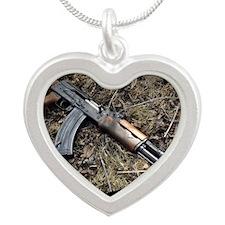 AK 47 Silver Heart Necklace