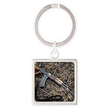AK 47 Square Keychain